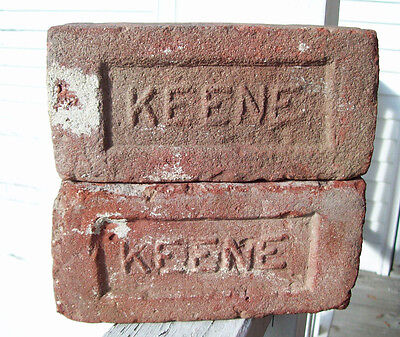 Set Of 2 ~ KEENE~ Red Clay Bricks Keene NH Brick Co (1909-1920) Brickyard KSC