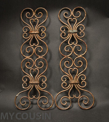 Pair, 1900s Ornamental Twisted Iron Work Grills, Arts & Crafts, Art Nouveau  NR