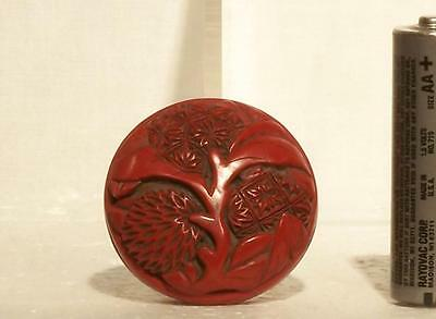16th Century Chinese Ming Dynasty Carved Cinnabar Lacquer Lychee Seal-Paste Box