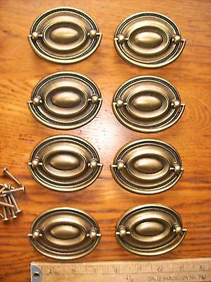 12 Vintage Aged Brass Color Furniture Pulls Drawer Pulls Hepplewhite Style NOS