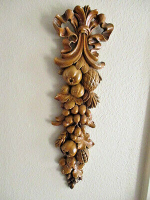 Vintage Wood Syroco Friot Nuts Wall Plaque