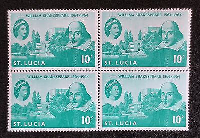 St Lucia - 1964 - Shakespeare - SG 211 x 4 in MNH Block