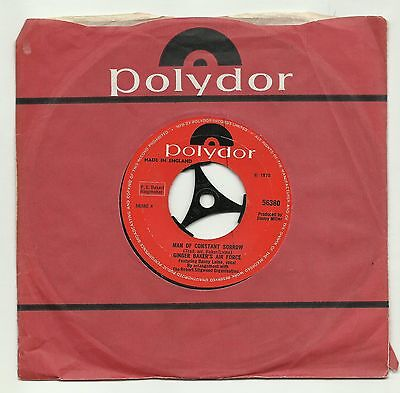 "GINGER BAKER'S AIRFORCE  MAN OF CONSTANT SORROW  UK 7"" 45rpm  VERY GOOD+"