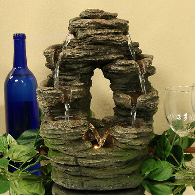 NEW - Split Rock Moss Detail Tiered Indoor Waterfall Fountain Water Feature