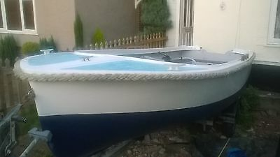 15ft fishing boat and snipe road trailer dinghy tender outboard  dingy motor