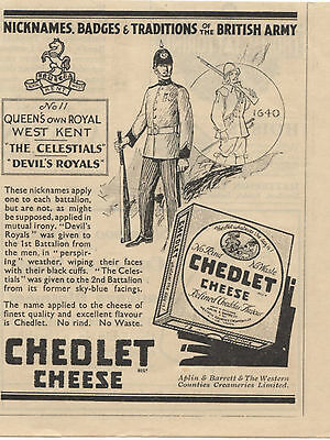 Old Advert 1932 Chedlet Cheese Queens own Royal West Kent Celestials Devils Army