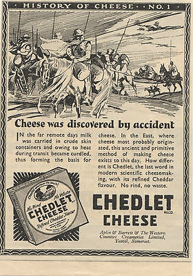 Old Advert 1932 Chedlet Cheese  History of Cheese 1