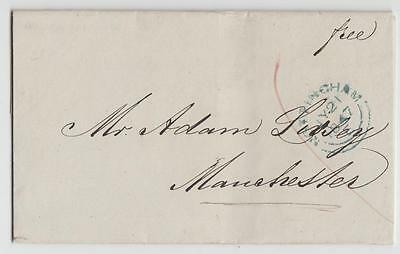 Gb 1847 Penny Post Entire Nottingham To Manchester