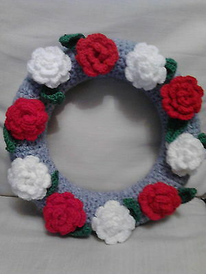 hand crocheted Christmas wreath