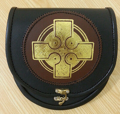 Men's Black & Brown  Leather Sporran with Celtic Gold Design with Chain & Belt .