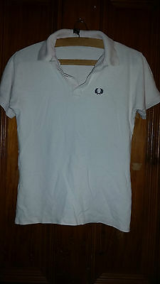 True Vintage Retro White Fred Perry  Polo Top Childs / Teenage ? 34 Chest