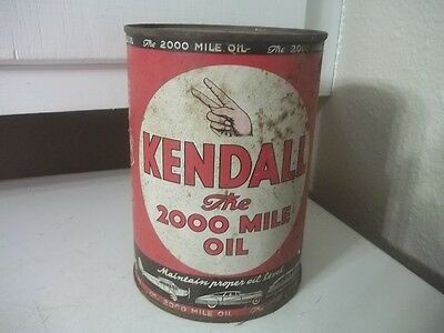 Vintage Estate Find Quart Metal Advertising Kendall 2,000 Mile Empty 2