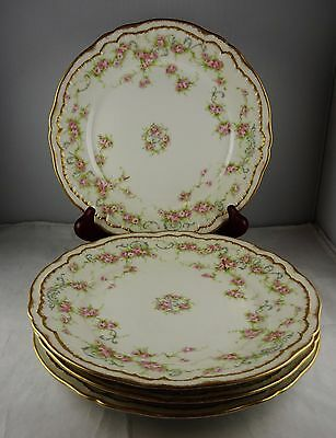 4 Theo Haviland Limoges Schleiger 340 Luncheon Plates Pink Roses w/ Blue Scrolls