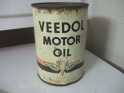Vintage Estate Find Quart Metal Advertising Veedol Motor Oil Can Empty