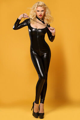 CATSUIT OVERALL WETLOOK Clubwear Party GOGO SCHWARZ S M 36 38