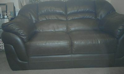 2 Seater Brown Leather Effect Sofa - excellent condition