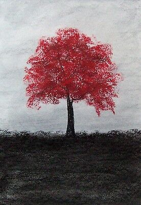 Original The Red Tree Landscape Watercolour/pastel Painting