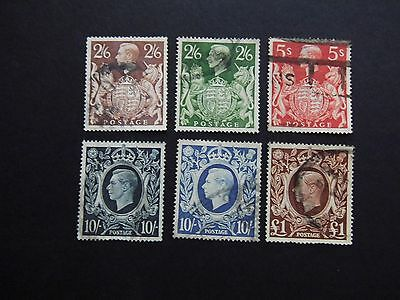 KGVI GB stamps 1938 / 1948 USED SET High Values to £1 stamps Catalogued £64.50