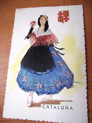 Embroidered Silk Postcard Spanish Lady Cataluna Nice