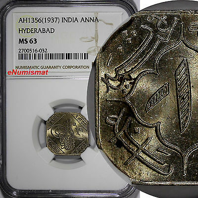 India-Princely States HYDERABAD AH1356 (1937) Anna NGC MS63 TOP GRADED Y# 49