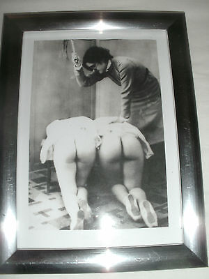 """Bare Bottom Spanking Picture in 7""""x5"""" Silver Frame.Fetish.Martinet"""