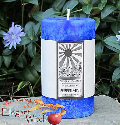 "3"" Peppermint Aromatherapy Essential Oil Pillar Candle Wicca Meditation Magick"