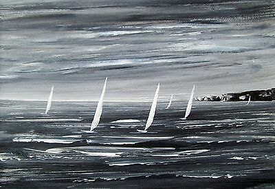 """Original """"abstract Sail Boats 8#"""" Seascape Acrylic Landscape Painting"""