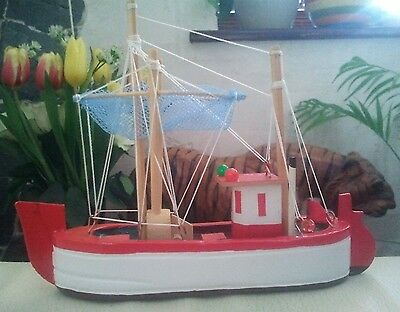 Collectable Wooden Model Trawler / Bathroom Decoration / Train Set Accessory Toy