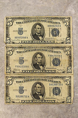 Lot of 3 United States $5 Dollar Silver Certificates Series 1934