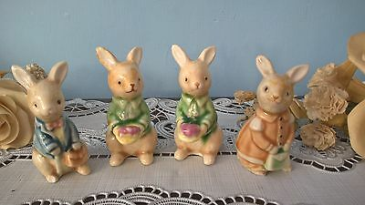 VINTAGE COLLECTION OF 4 SMALL CERAMIC BUNNY RABBIT FIGURINE ORNAMENTS 6.5cm