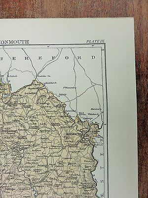 1883 Coloured Map of Monmouth, UK