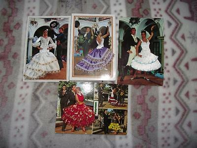 4 x EMBROIDERED SILK POSTCARD SPANISH FLAMENCO DANCERS REAL PHOTOS LOT D