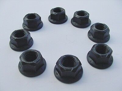 """7/16""""-14 Pack 8 Black Oxide Body Mount Locking 5/8"""" Flanged Hex Head Frame Nuts"""