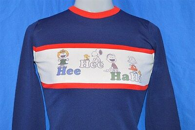 vintage 70s PEANUTS CHARLIE BROWN SNOOPY BLUE LAUGHING KIDS t-shirt SMALL S
