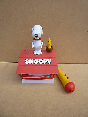 1977 Peanuts Snoopy The Critic Jumping Woodstock Doghouse Microphone Toy Aviva