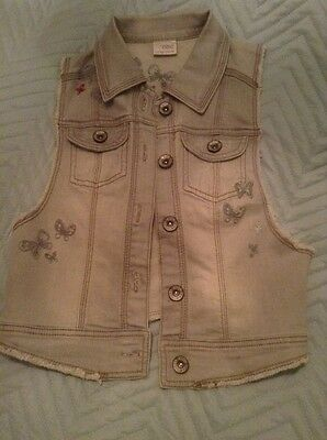 Girls Next Denim Waistcoat, Embroidered Butterflies, VGC, Age 9-10 Years