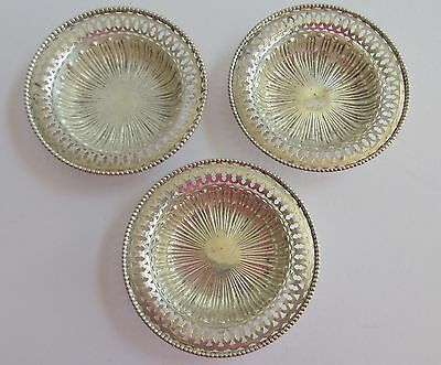 Sterling Silver Nut Dish Bowls set of 3 pierced #351 76gm  3.25 inches round
