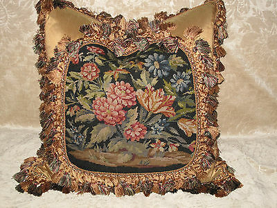 Lovely Antique Floral Victorian Needlepoint Tapestry Pillow