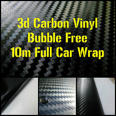 3D Black Carbon Fibre Vinyl FULL CAR WRAP - 1.52 x 10m Roll - BUBBLE/AIR FREE