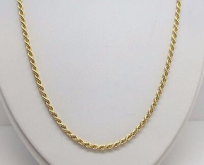 "14K Yellow Gold Solid Diamond Cut Rope Chain 30"" 2.25 Mm"