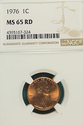 1976-P NGC MS65 RED Lincoln Memorial Cent!! #A7556