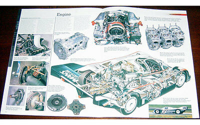 Porsche 962C Fold-out Poster + Cutaway drawing
