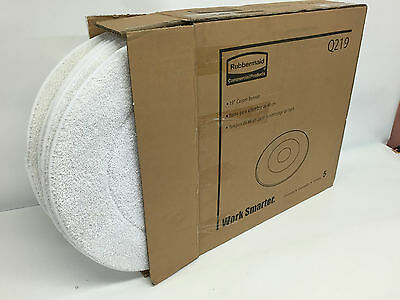 "Rubbermaid Q219 19"" Diameter Low Profile MicroFiber Carpet Bonnet 5 pak White"