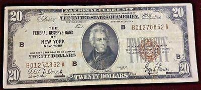 1929 United States $20.00 National Currency Federal Reserve Note!~