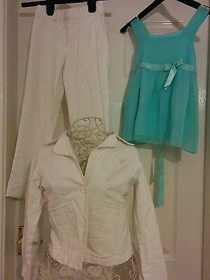 Marks & Spencer Linen/Cotton Cream Suit: Trousers, Jacket Age 7-8 & F&F Mint Top