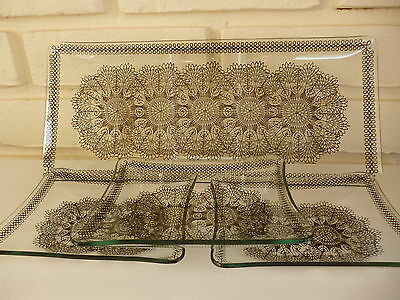 Chance Glass Tray & 3 Smaller Trays Black Lace Design Vintage