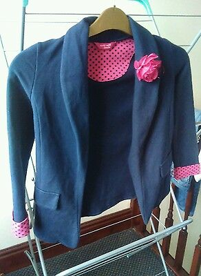 Girls neavy with pink and black dots Matalan jacket Age 8-9