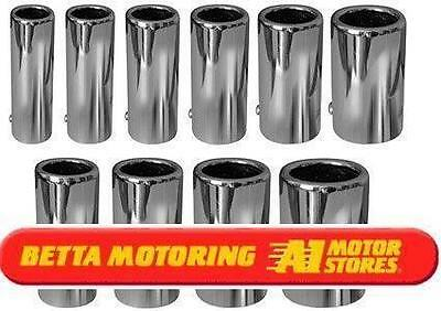 Chrome Straight Inward Rolled Exhaust Tailpipe Tip Backbox End 57mm