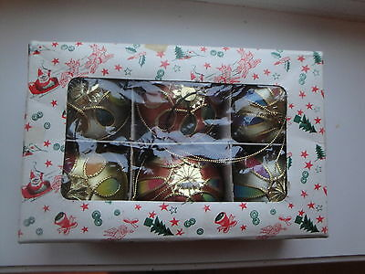 Set Of 6 Vintage Rainbow Satin Christmas Balls W Flickers Flashers Japan In Box