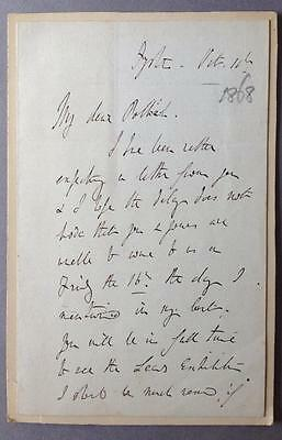 Richard Monkton Milnes, Lord Houghton, Poet, SIGNED letter, AUTOGRAPH, 1868?